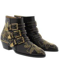 Chloé - Susanna Nappa Boots Black/gold - Lyst