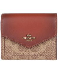COACH Colorblock Coated Canvas Signature Small Wallet - Rouge