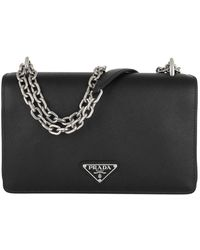 Prada Tessuto Saffiano Crossbody Bag Black