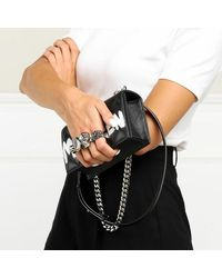 Alexander McQueen Skull Jewelled Quilted Mini Crossbody Bag - Zwart