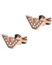 Emporio Armani Sterling Silver Eagle Stud Earring - Metallic