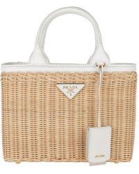 Prada Wicker and Canvas Handbag Tan White - Blanc