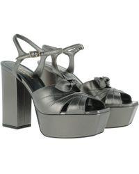 Saint Laurent - Plateau Sandals Leather Silver - Lyst