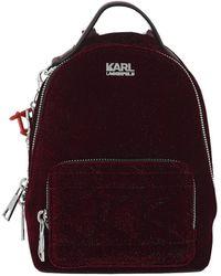 Karl Lagerfeld - Karl X Kaia Velvet Mini Backpack Bordeaux - Lyst