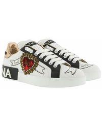 Dolce & Gabbana Printed Calfskin Nappa Portofino Sneakers With Embroidery - Blanc
