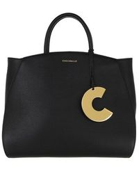 Coccinelle Concrete Handle Tote Bag - Black