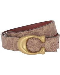 COACH Sculpted C Canvas Reversible Signature Belt Tan Rust - Marron