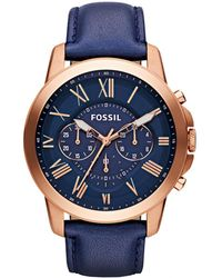 Fossil - Gents Grant Chronograph Leather Indigo/rosegold - Lyst