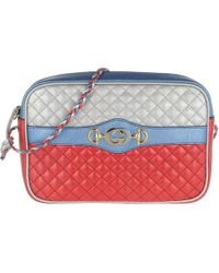2ae3fbacc Gucci - Shoulder Bag Laminated Leather Blu/rosso/argento - Lyst