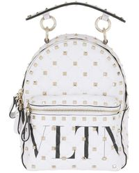 Valentino Rockstud Spike Backpack Quilted Leather Bianco Ottico/Nero - Blanc