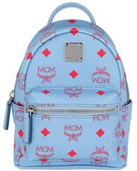 MCM Stark Visetos Backpack Extra Mini Blue Bell - Bleu