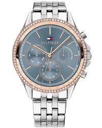 Tommy Hilfiger Damen Analog Quarz Uhr mit Edelstahl Armband 1782086 - Pink