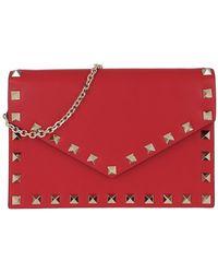 Valentino Rockstud Envelope Shoulder Bag Leather Red - Rouge