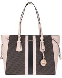 Michael Kors Voyager Medium Logo Stripe Tote Bag Brown Soft Pink - Marron