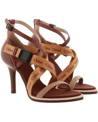 Chloé Veronica Sandals Leather Delicate Pink - Brown