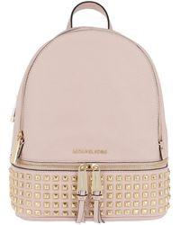9867a4f7f2 Michael Kors - Rhea Zip Medium Pyramid Stud Backpack Soft Pink - Lyst