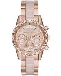 Michael Kors - Ritz Pavé Rose Gold-tone And Rose Acetate Watch - Lyst
