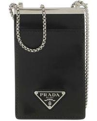 Prada Logo Plaque Chain Cardholder - Noir
