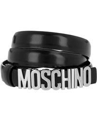 Moschino Logo Belt Black/Silver - Noir