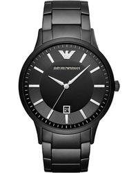 Emporio Armani - Mens Round Metal Watch Black - Lyst