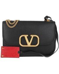 Valentino Garavani Small V Lock Crossbody Leather - Black