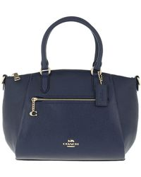 COACH Polished Pebble Leather Elise Satchel Gd/Midnight Navy - Bleu