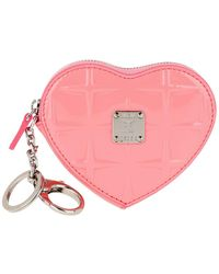 MCM Diamond Patent Heat Coin Wallet Salmon Rose