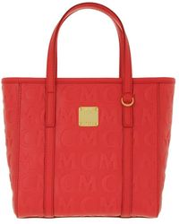 MCM Toni Monogramme Leather Shopper Mini Poppy Red - Rot