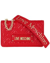 Love Moschino Borsa Quilted Nappa Crossbody Bag Chain Rosso - Rouge