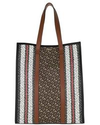 Burberry Monogram Stripe Tote Bag - Marron