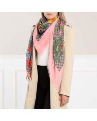 Gucci GG Flora Printed Wool Silk Scarf - Naturel