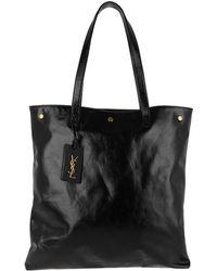 Saint Laurent - Noe Flat Shopping Bag Moroder Leather Black - Lyst