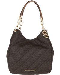 Michael Kors Grand sac porté épaule Lillie avec logo - Marron