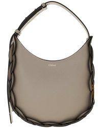 Chloé Darryl Small Hobo Bag Leather Motty - Grau