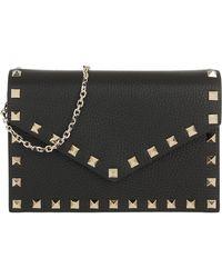 Valentino Rockstud Envelope Shoulder Bag Nero - Noir