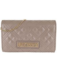 Love Moschino Chain Crossbody Bag Quilted Nappa Grigio - Gris