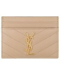Saint Laurent Ysl Monogramme Card Etui Leather - Natural