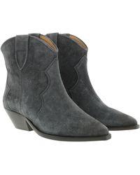 Isabel Marant Dacken Classic Boots Velvet Faded Black - Gris