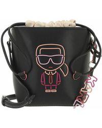 Karl Lagerfeld Ikonik Biarritz Small Bucket Crossbody - Black