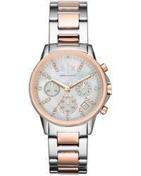 Armani Exchange Ax4331 Women's Chronograph Two Tone Bracelet Strap Watch - Metallic