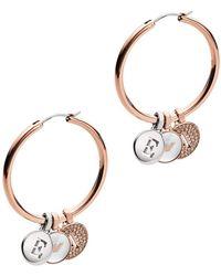 Emporio Armani - Hoop Earrings Logo Rosegold - Lyst