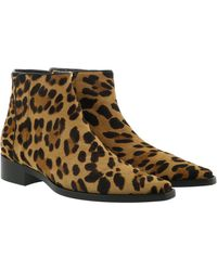 Dolce & Gabbana Animal Print Ankle Boots Leather Leo - Marron