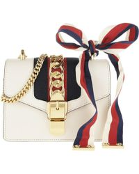 9f1a6c39459b2b Gucci Sylvie Leather Mini Chain Bag Navy/ivory in Blue - Lyst