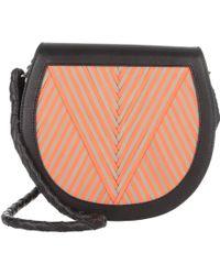 "Lili Radu - Saddle Bag ""v"" Black/ Taupe/ Orange - Lyst"
