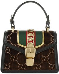 cfb86b542ba Gucci Sylvie Floral-embroidered Leather Top Handle Bag in Gray - Lyst
