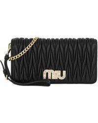 Miu Miu Matelassé Wallet On Chain Black - Schwarz