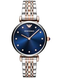 Emporio Armani AR11092 Dress Watch Silver/Roségold - Bleu
