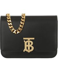 Burberry TB Chain Belt Bag Leather Black - Noir