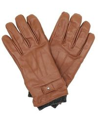 Tommy Hilfiger Elevated Flag Leather Mix Gloves S-m - Natural