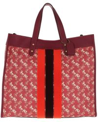COACH Coated Canvas Field Tote Bag Red - Rouge